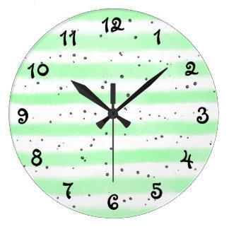 Relógio Grande Listrado salpicado pálido