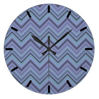 Relógio Grande listras Azul-cinzentas do ziguezague