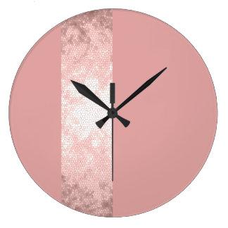 Relógio Grande listras cor-de-rosa do rosa do ouro do falso claro