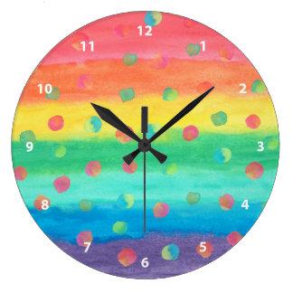 Relógio Grande Listras e pontos coloridos da aguarela