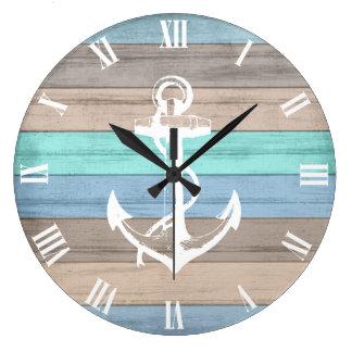 Relógio Grande Listras náuticas de madeira & âncora da praia