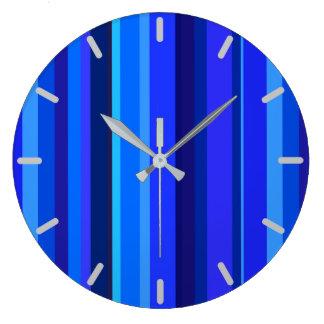 Relógio Grande Listras verticais azuis