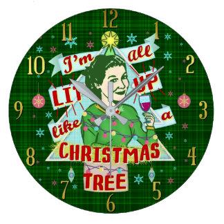 Relógio Grande Lit retro da mulher do humor do bebendo do Natal