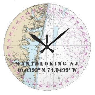 Relógio Grande Longitude náutica Mantoloking NJ 24-Hr da latitude