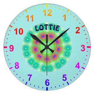 Relógio Grande LOTTIE Personalised~Kaleidoscope circunda o ~ do