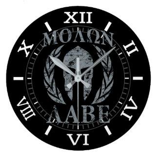 Relógio Grande Louros da máscara do guerreiro de Molon Labe no
