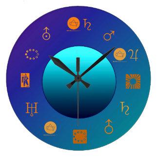 Relógio Grande Lua brilhante com o pulso de disparo da astrologia