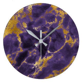 Relógio Grande Lux preto de mármore de pedra dourado Amethyst