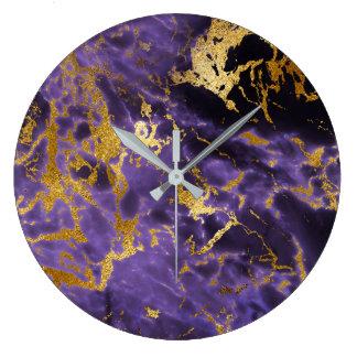 Relógio Grande Luxo preto de mármore de pedra dourado Amethyst