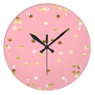 Relógio Grande Luz chique dos confetes da folha de ouro - rosa