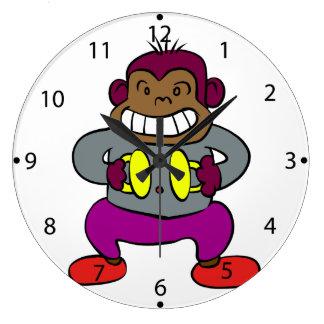 Relógio Grande Macaco retro com brinquedo dos pratos