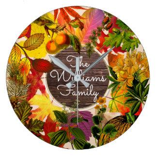 Relógio Grande Madeira do vintage da colagem das folhas de outono