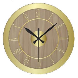 Relógio Grande Madeira e ouro