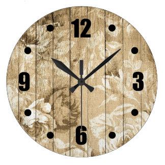 Relógio Grande Madeira floral do teste padrão do vintage