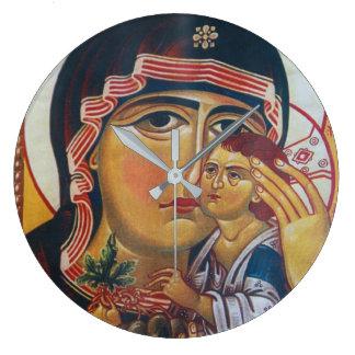 Relógio Grande Mãe Mary e arte de Jesus