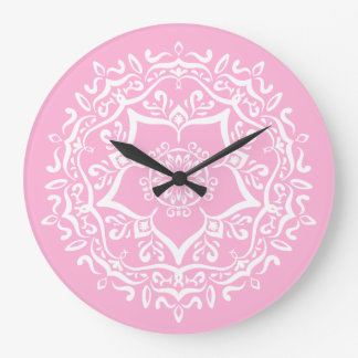 Relógio Grande Mandala cor-de-rosa