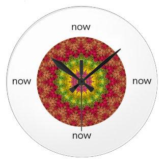 Relógio Grande Mandala cor-de-rosa, amarela, verde do nascer do