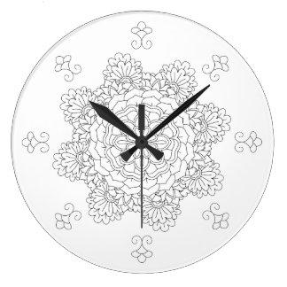 Relógio Grande Mandala da flor. Elementos decorativos do vintage.