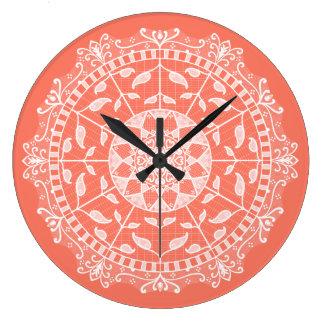 Relógio Grande Mandala da papaia