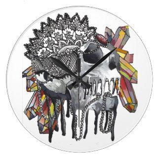 Relógio Grande Mandala de cristal do crânio