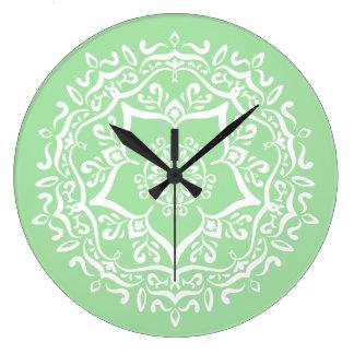 Relógio Grande Mandala de Seafoam