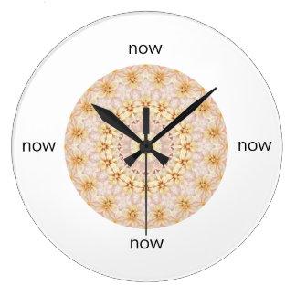"""Relógio Grande Mandala floral cor-de-rosa e amarela lindo """"agora"""