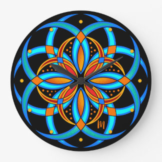 Relógio Grande mandala geométrica da arte digital alaranjada de