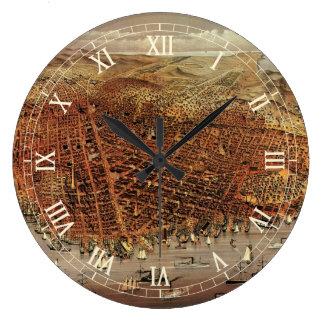 Relógio Grande Mapa aéreo antigo de San Francisco, Califórnia