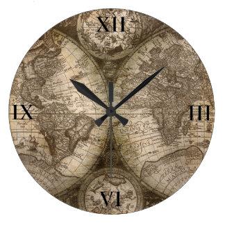 Relógio Grande Mapa antigo do pulso de disparo do mundo