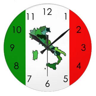 Relógio Grande Mapa de Italia e da bandeira italiana