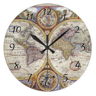 Relógio Grande Mapa do mundo 1626 do vintage