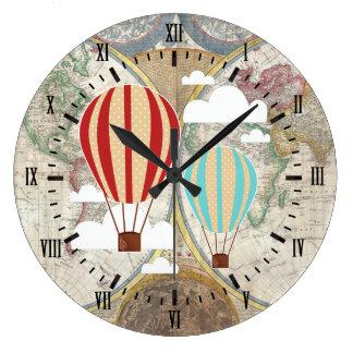 Relógio Grande Mapa do mundo antigo dos balões de ar quente do