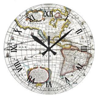 Relógio Grande Mapa do mundo antigo por Hendrik Hondius, 1630