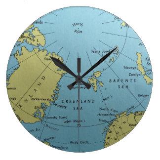 Relógio Grande Mapa do vintage do pulso de disparo do Pólo Norte