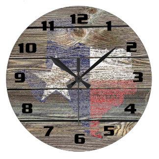 Relógio Grande Mapa e bandeira autênticos e rústicos de Texas na