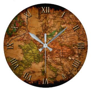 Relógio Grande Mapa velho do vintage de Europa 1740