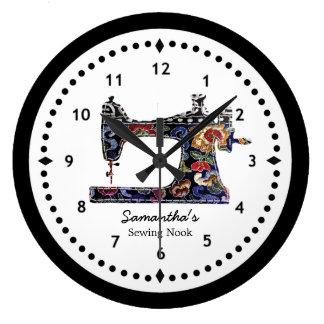 Relógio Grande Máquina de costura da tapeçaria floral