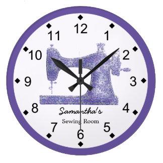 Relógio Grande Máquina de costura do damasco roxo
