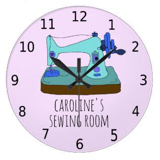 Relógio Grande Máquina de costura do vintage, personisable, com