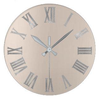 Relógio Grande Marfim Numers romano metálico mínimo cinzento bege