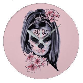 Relógio Grande Máscara do esqueleto da mulher