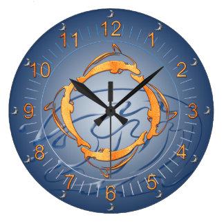 Relógio Grande Máscaras douradas do anel dos golfinhos do azul
