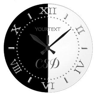 Relógio Grande Meio seletor branco parcialmente preto