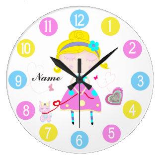 Relógio Grande Menina com o gato bonito colorido