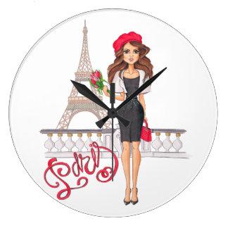 Relógio Grande Menina de Paris da forma pintado mão