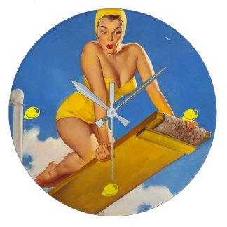 Relógio Grande Menina do Pinup do nadador do conselho de mergulho