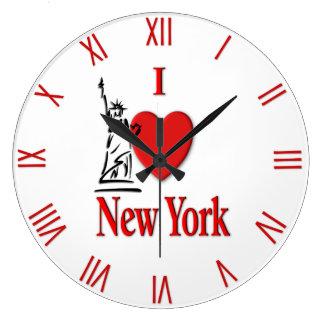 Relógio Grande Mim numerais do vermelho do amante NY