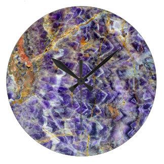 Relógio Grande mineral de pedra amethyst am da gema da rocha do