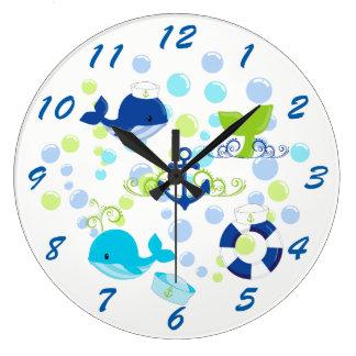 Relógio Grande Miúdos náuticos dos azuis marinhos do verde limão