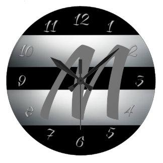 Relógio Grande Moderno, elegante, preto & cinzas, na moda,
